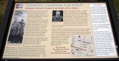 """Good-bye, Lieutenant, I am killed."" Marker image. Click for full size."