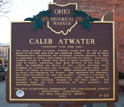 Caleb Atwater Marker </b>(reverse) image, Touch for more information