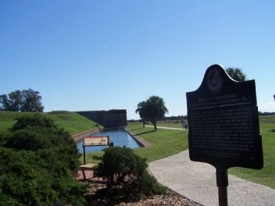 History of Emancipation Marker, Fort Pulaski in background image. Click for full size.