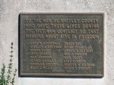 Whitley County Viet Nam Memorial Marker image. Click for full size.