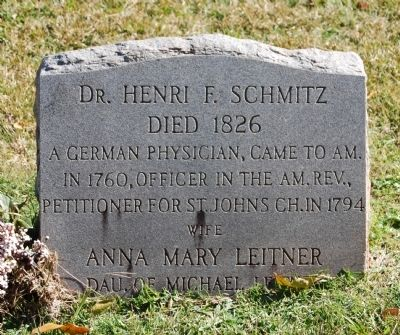 Dr. Henri Schmitz Tombstone (St. John's Church Cemetery) image. Click for full size.