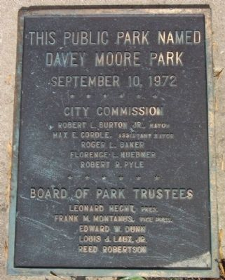City of Springfield Davey Moore Park Marker image. Click for full size.