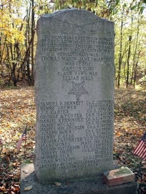 "Soldiers Buried in ""Old Town Cemetery"" - Crawfordsville, Indiana Marker image. Click for full size."