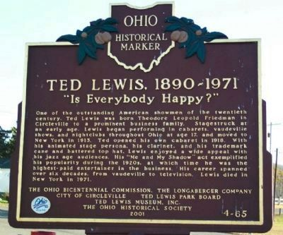 Ted Lewis, 1890-1971 Marker image. Click for full size.