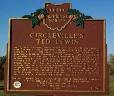 Circleville's Ted Lewis Marker image. Click for full size.