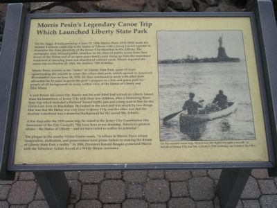 Morris Pesin's Legendary Canoe Trip Which Launched Liberty State Park Marker image. Click for full size.