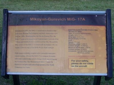 Mikoyan-Gurevich MiG- 17A Marker image. Click for full size.