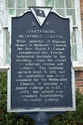 Spartanburg Methodist College Marker image. Click for full size.