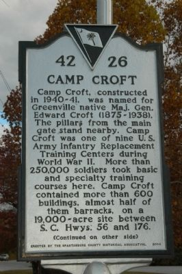 Camp Croft Marker image. Click for full size.