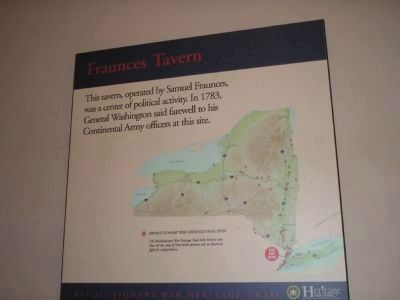 Revolutionary War Heritage Trail Marker in Fraunces Tavern image. Click for full size.