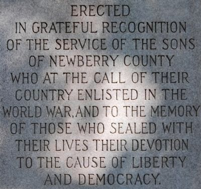 Newberry County World War I Monument Marker - West Side image. Click for full size.