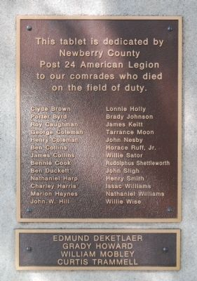 Newberry County World War I Monument Marker - South Side image. Click for full size.