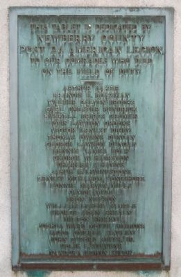 Newberry County World War I Monument Marker - East Side image. Click for full size.