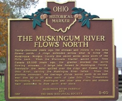 The Muskingum River Flows North Marker image. Click for full size.