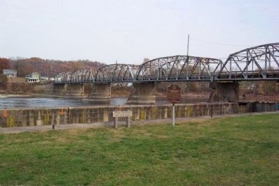 The Muskingum River Flows North Marker and Philo Lock No. 9 image. Click for full size.