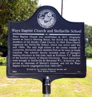 Ways Baptist Church and Stellaville School Marker image. Click for full size.