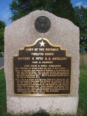 Battery K, Fifth U.S. Artillery Tablet image. Click for full size.