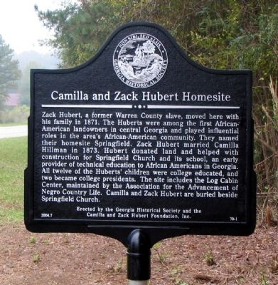 Camilla and Zack Hubert Homesite Marker image. Click for full size.