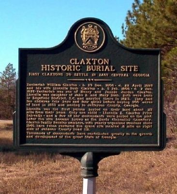Claxton Historic Burial Site Marker image. Click for full size.