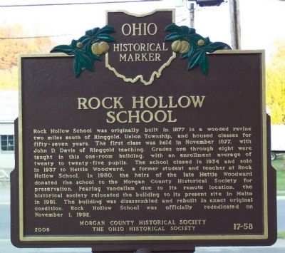 Rock Hollow School Marker image. Click for full size.