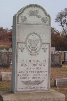 Lt . John Arlin Winefordner Grave Monument image. Click for full size.