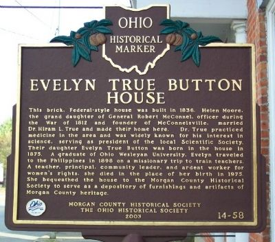 Evelyn True Button House Marker image. Click for full size.