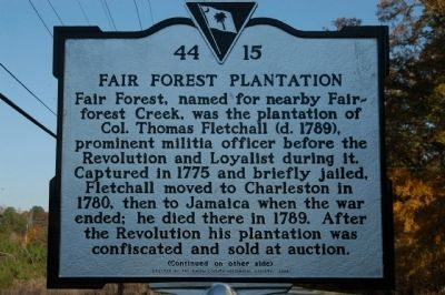 Fair Forest Plantation Marker image. Click for full size.