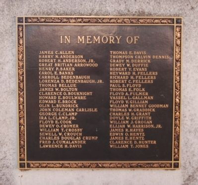 Newberry County World War II Monument Marker - Left Plaque image. Click for full size.