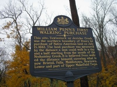 William Penn's First Walking Purchase Marker image. Click for full size.