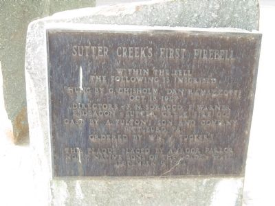 Sutter Creek's First Fire Bell Marker image. Click for full size.