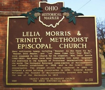 Lelia Morris & Trinity Methodist Episcopal Church Marker image. Click for full size.