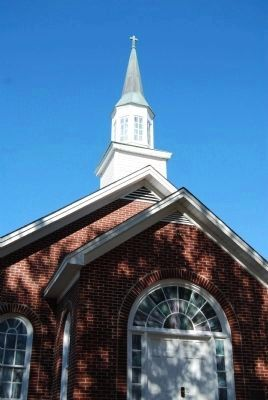 Lower Fairforest Baptist Church -<br>Entrance and Steeple Detail image. Click for full size.