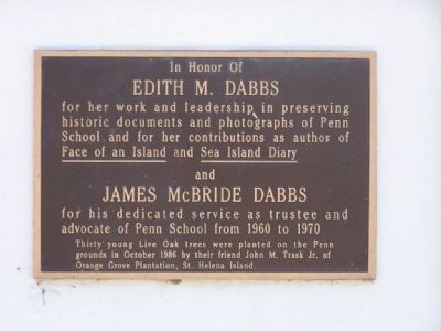 In Honor Of Edith M. Dabbs and James McBride Dabbs Marker image. Click for full size.