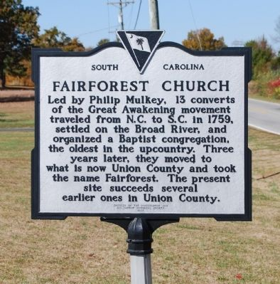 Fairforest Church Marker image. Click for full size.