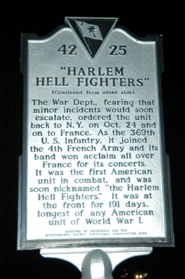 15th N.Y. Infantry / Harlem Hell Fighters Marker image. Click for full size.