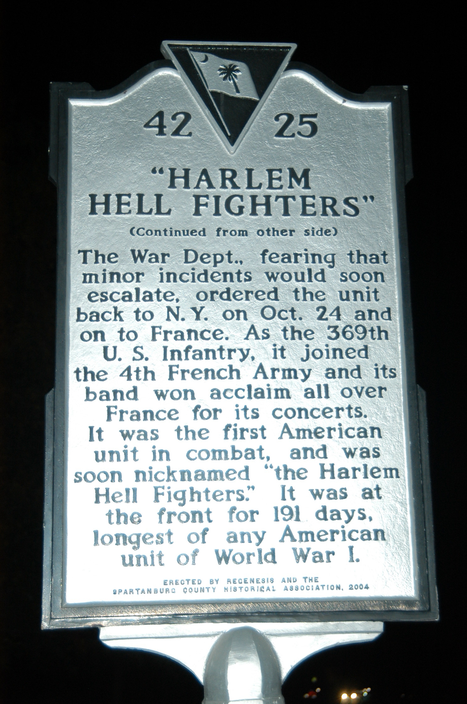 15th N.Y. Infantry / Harlem Hell Fighters Marker