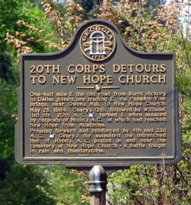 20th Corps Detours to New Hope Church Marker image. Click for full size.