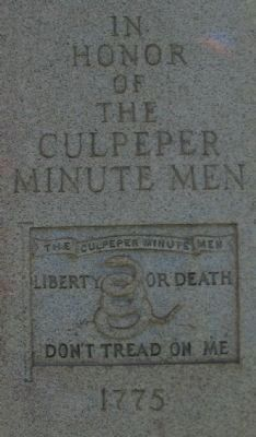 Front of Culpeper Minute Men Monument image. Click for full size.