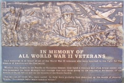 World War II Veterans Memorial Marker image. Click for full size.