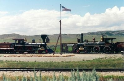 Union Pacific and Central Pacific Railroads meet at Promontory image. Click for full size.
