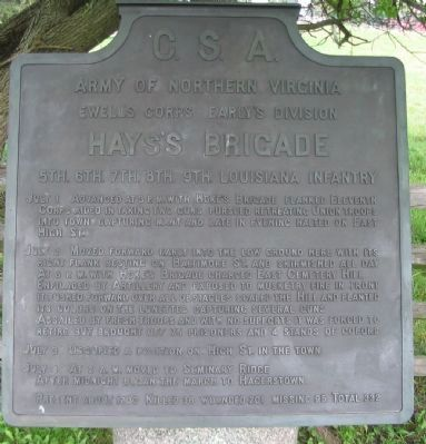 Hays's Brigade Tablet image. Click for full size.