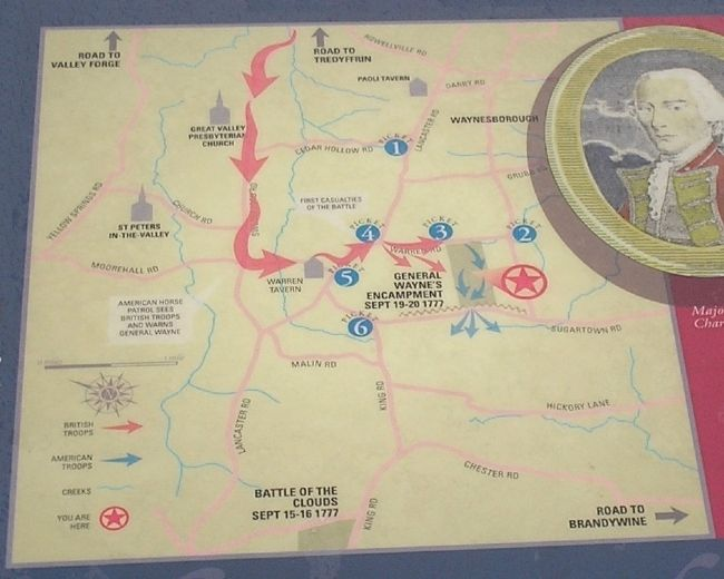 Map of General Wayne's Encampment from Marker image. Click for full size.