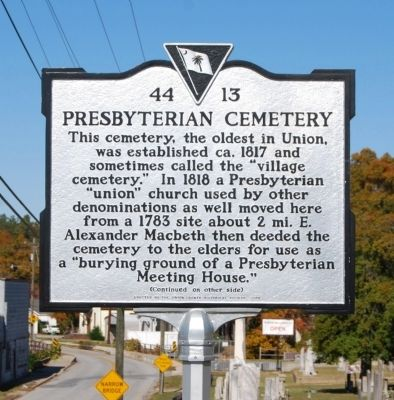 Presbyterian Cemetery Marker - Front image. Click for full size.