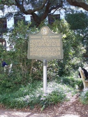 Nathanael Greene Monument Marker at Johnson Square, Savannah image. Click for full size.