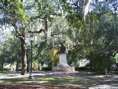 James Edward Oglethorpe Marker, seen at right, at Chippewa Square image. Click for full size.