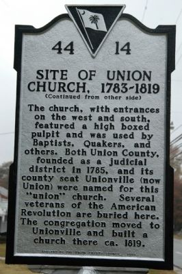 Site of Union Church, 1783-1819 Marker image. Click for full size.