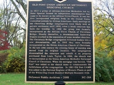 Old Fort Union American Methodist Episcopal Church Marker image. Click for full size.