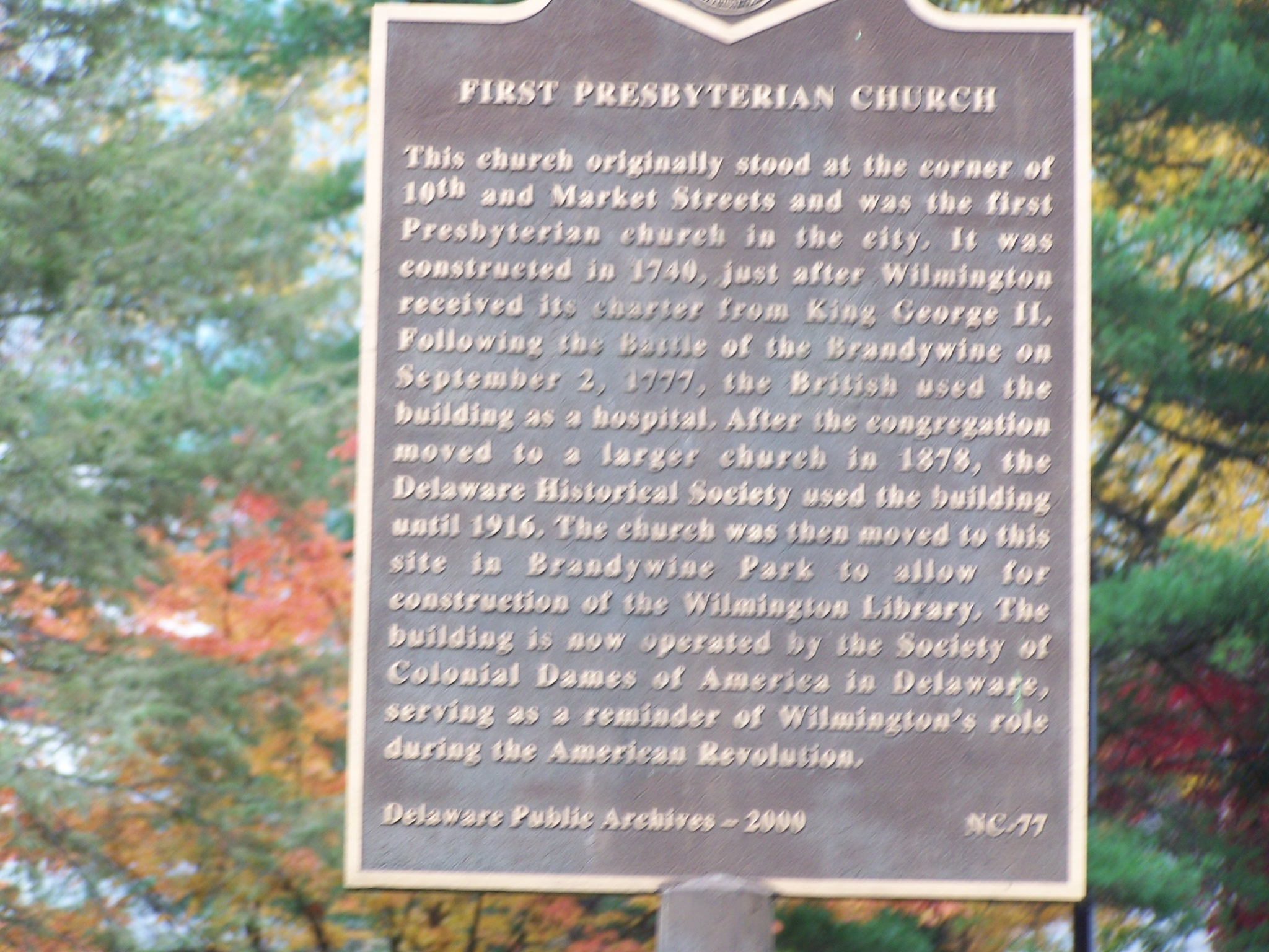 First Presbyterian Church Marker