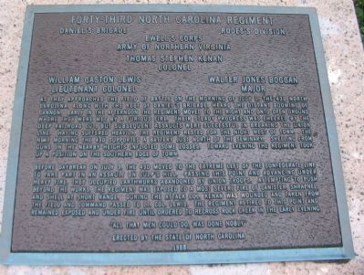 Forty-Third North Carolina Regiment Monument Plaque image. Click for full size.
