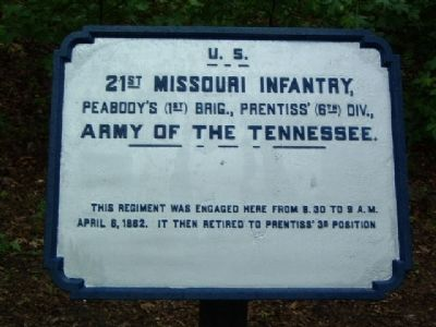 21st Missouri Infantry Marker image. Click for full size.